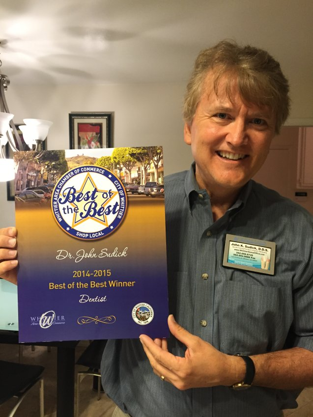 Dr. John Sudick recieved from the Whittier Chamber of Commerce the Best of The Best Dentist in Whittier voted by the people of Whittier and the surrounding area. He appreciates the community support for the work he does to help the community stay healthy.